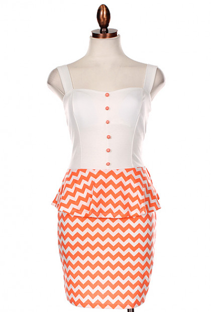 Dress - Sweet & Sassy Chevron Print Bow Back Peplum Dress in Coral