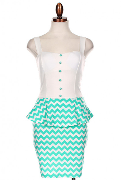 Dress - Sweet & Sassy Chevron Print Bow Back Peplum Dress in Mint
