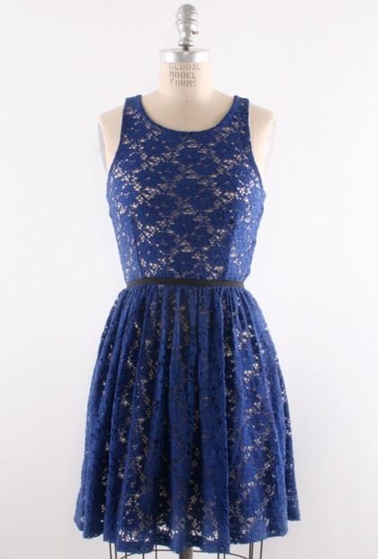 Dress - Uptown Etiquette Lace Banded Waist Dress in Sapphire