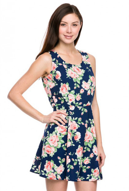 Dress - Vacation Essential Floral Print Skater Dress in Navy