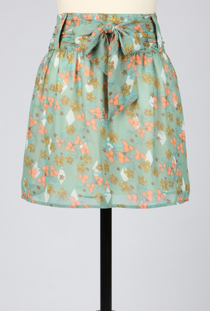 Skirt - Vintage Floral A-Line Skirt with Obi Inspired Waist Tie
