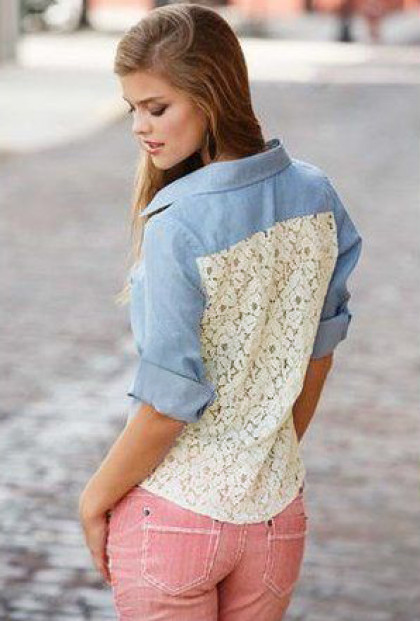 Shirt - Western Influence Chambray Lace Back Shirt