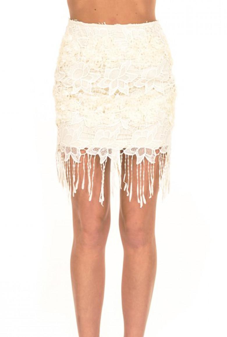 80322e688ba Skirt - Flapper Soiree Fringe Lace Skirt in Cream