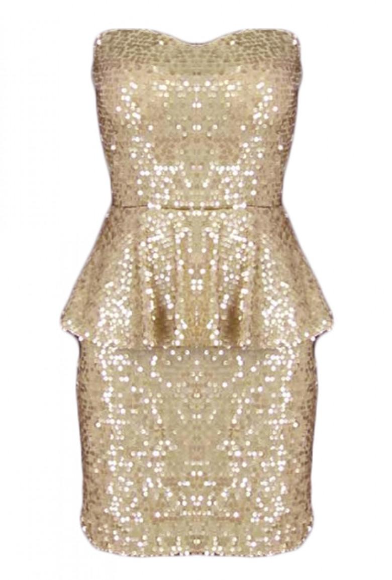 269d3e96d086d Dress - Sparkling Celebration Sequin Sweetheart Peplum Dress in Golden