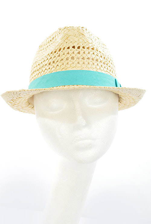 5087ba714f1de ... Hat - Ocean Breeze Open Weave Straw Fedora Hat with Ribbon Trim in Aqua  ...