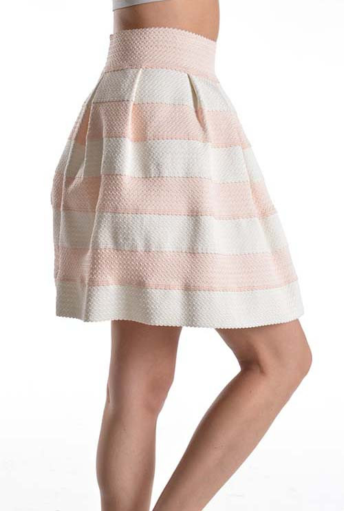 Skirt - Birthday Cake High Waist Striped Skater Skirt in Blush ...