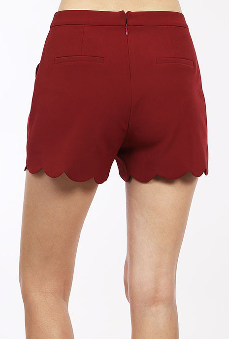 Chic Statement Scallop Hem High Waist in Burgundy | Sincerely ...