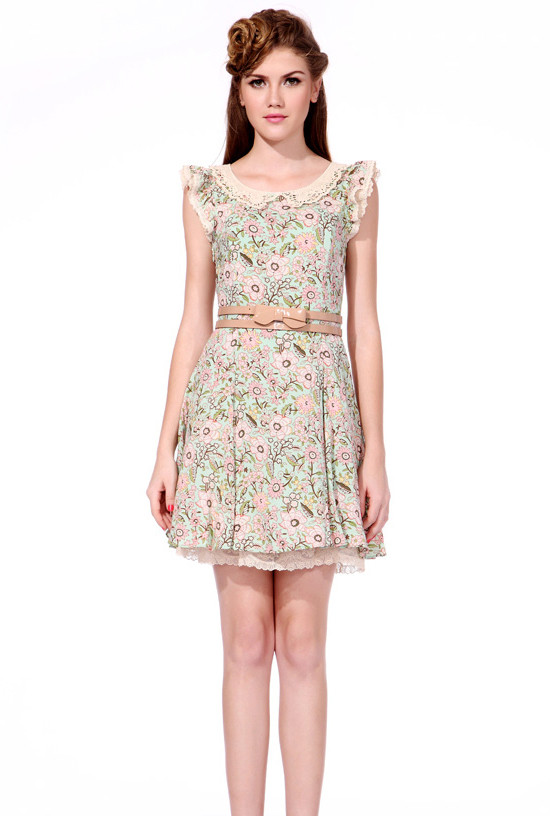 Romance Blossoms Floral Print Ruffle Sleeve Lace Collar