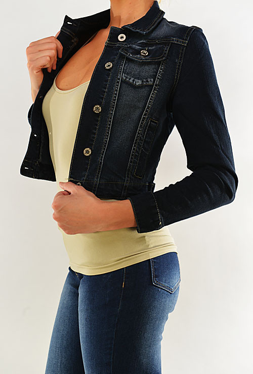 jacket horseback lass dark blue cropped denim jacket