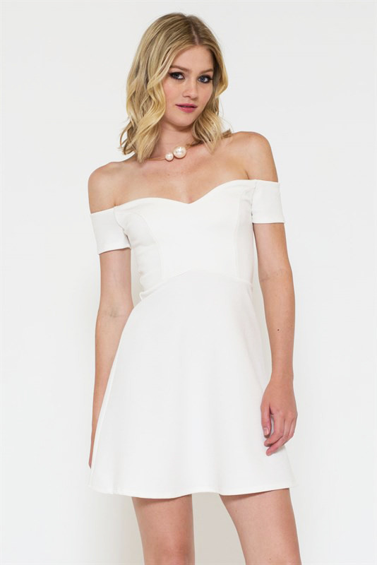 White Off The Shoulder Skater Dress with Open Toe Heels source Although this is also a white off-shoulder skater dress, it is very different from the one mentioned previously.