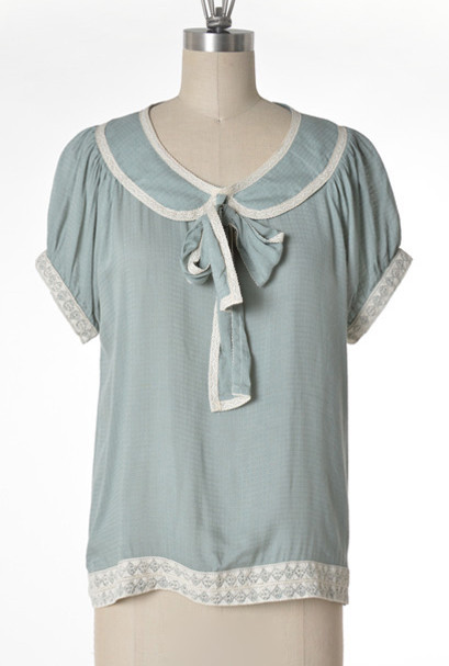 blouse good girl charm peter pan collar tieneck blouse