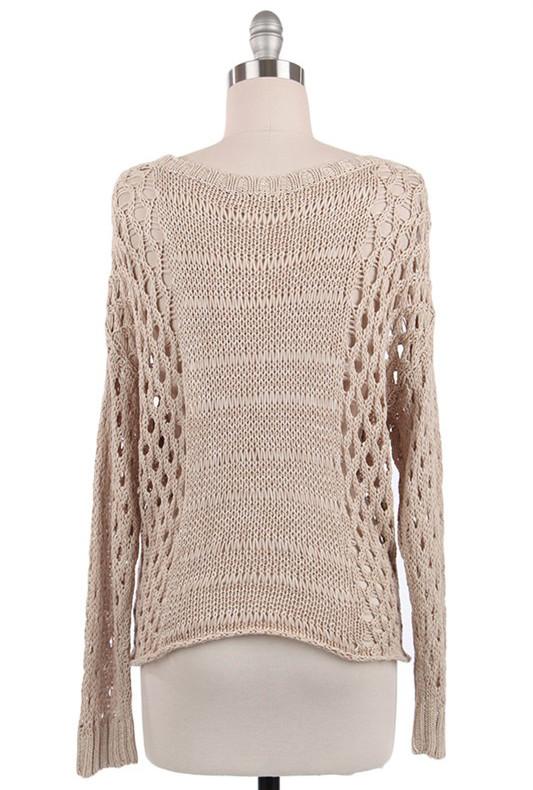 Sweater - Just Friends Beige Slouchy Open Knit Sweater