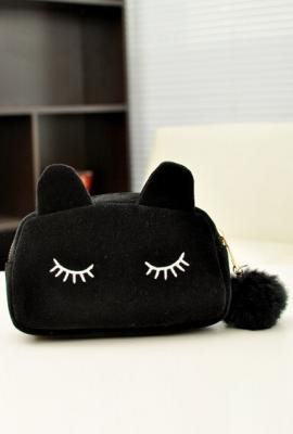 Meow Posh Kitty Velour Purse In Black Sincerely Sweet