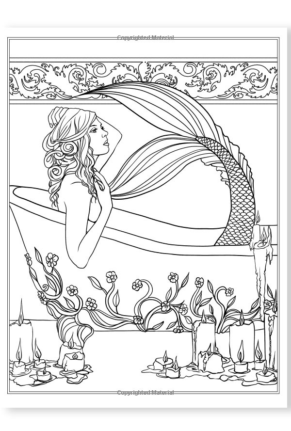 Books Mermaids Calm Ocean Adult Coloring Book