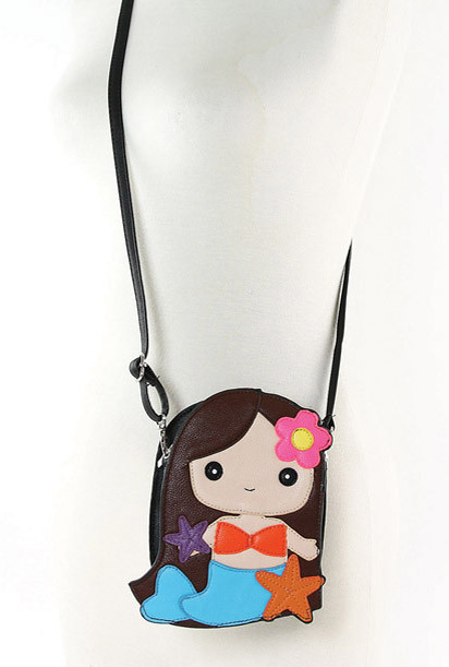 mermaid girl crossbody bag in brunette sincerely sweet