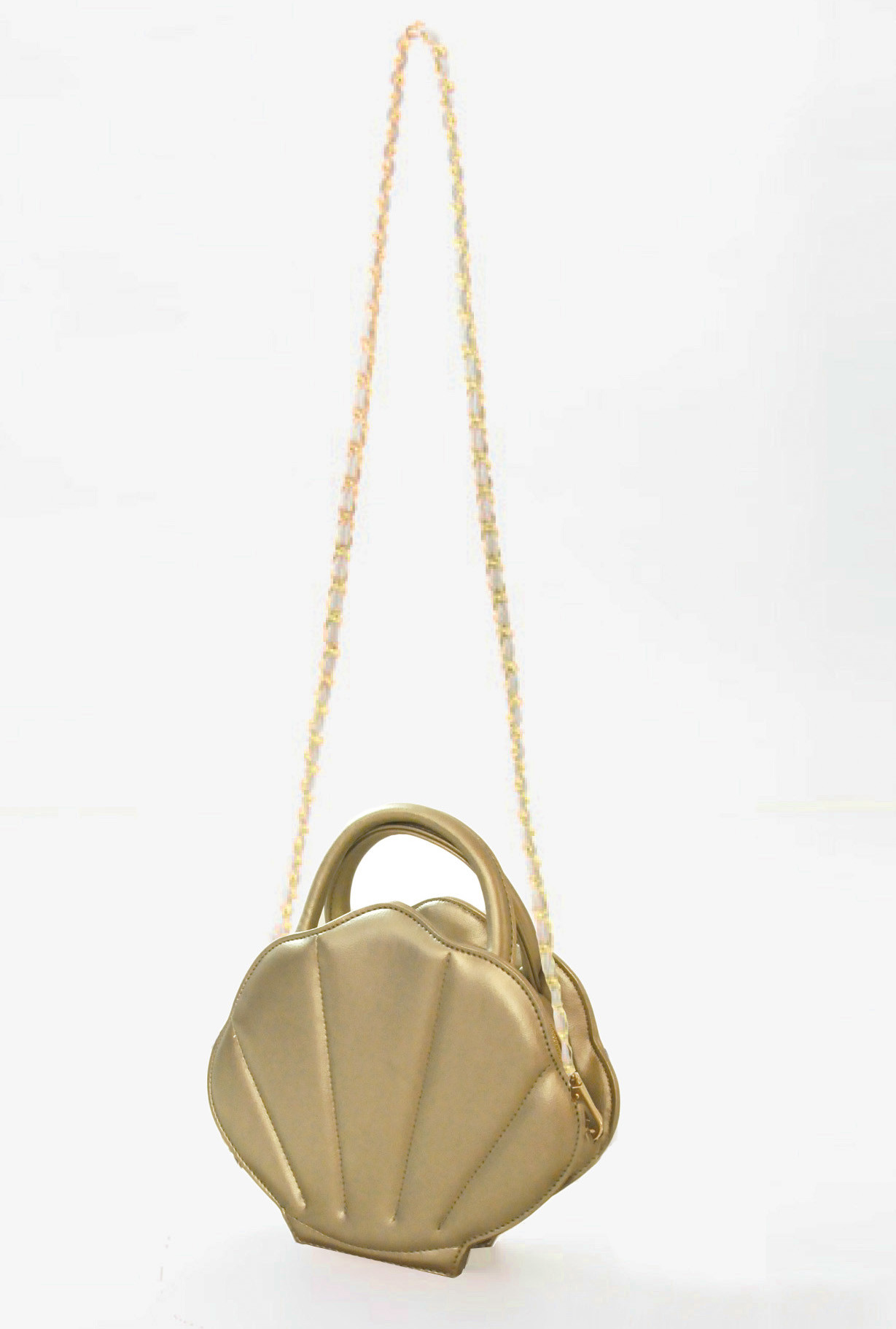 Mermaid Whimsy Sea Shell Purse In Champagne Gold