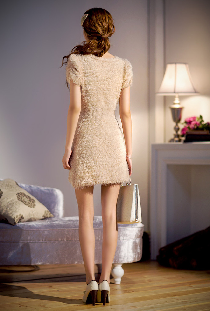 Midnight Kiss Furry Sequin Mini Dress In Champagne