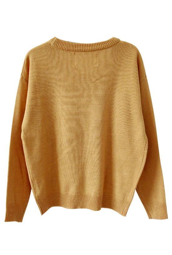 Sweater - Nursery Rhymes Mustard Sheep Pattern Oversized Sweater ...