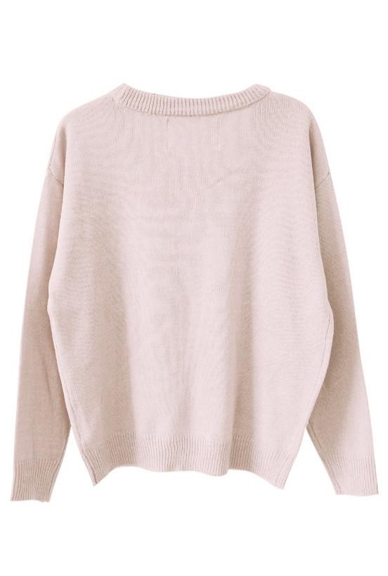 Sweater - Nursery Rhymes Pale Pink Sheep Pattern Oversized Sweater ...