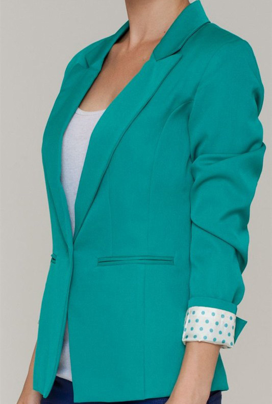 blazer business attire polka dot lined cropped blazer in