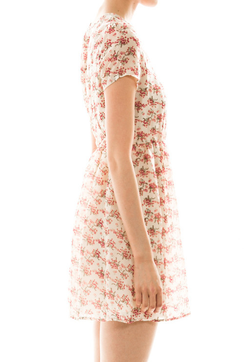 prairie dreams short sleeve floral print dress in ivory