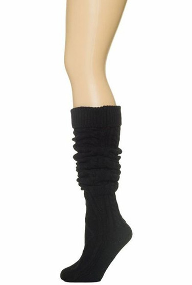 socks preppy life cable knit black thigh high socks