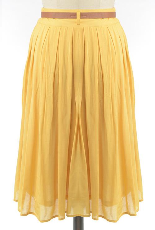 43daa3ef5e Skirt - Proper Introduction Belted Pleat Midi Skirt in Mustard ...