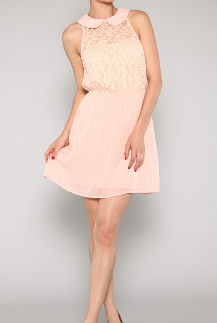 Remnants Of Romance Sleeveless Peter Pan Collar Lace Dress