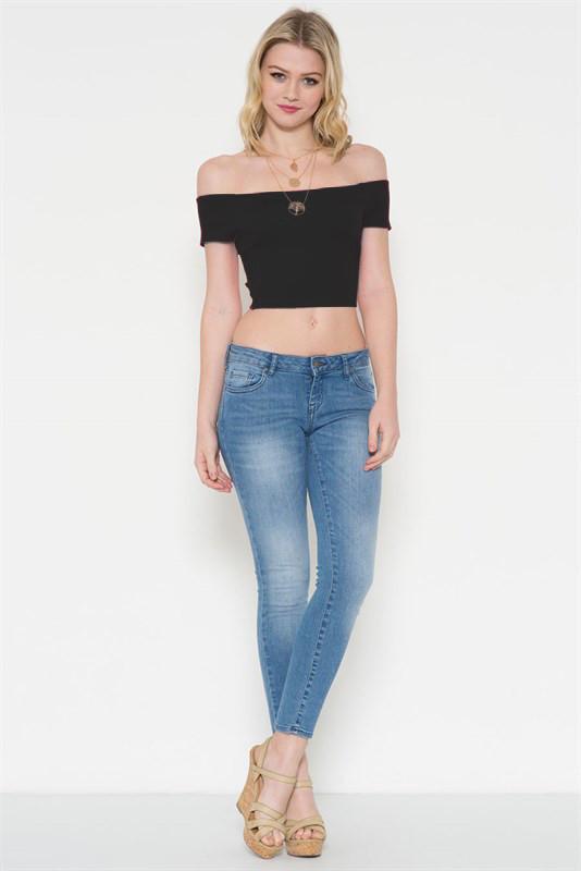 e0112f9d1c4e3 Sandra Dee Off Shoulder Crop Top in Black