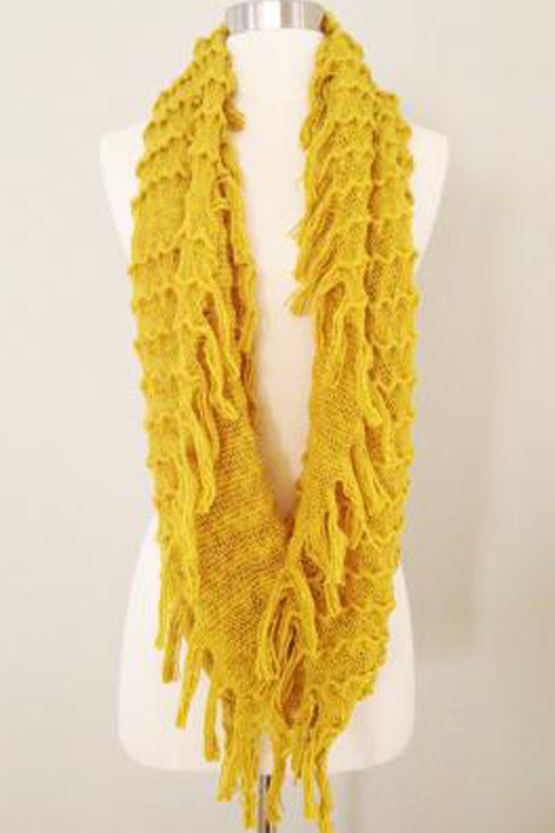 Scarf Common Interests Fringe Trim Mustard Yellow