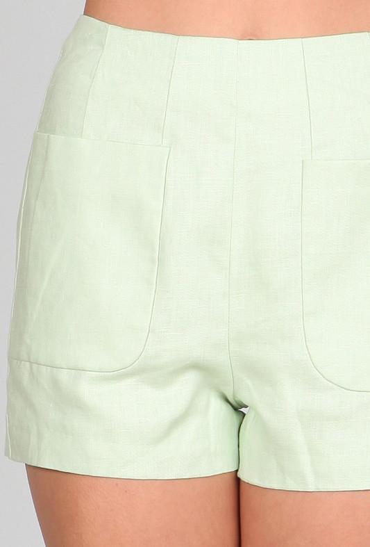Shorts - Spring Prance High Waist Linen Pocket Shorts in Mint ...